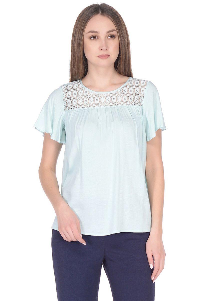 Блузка женская Baon, цвет: бирюзовый. B198033_Cascade. Размер XL (50) кардиган женский baon цвет черный b147505 black размер xl 50