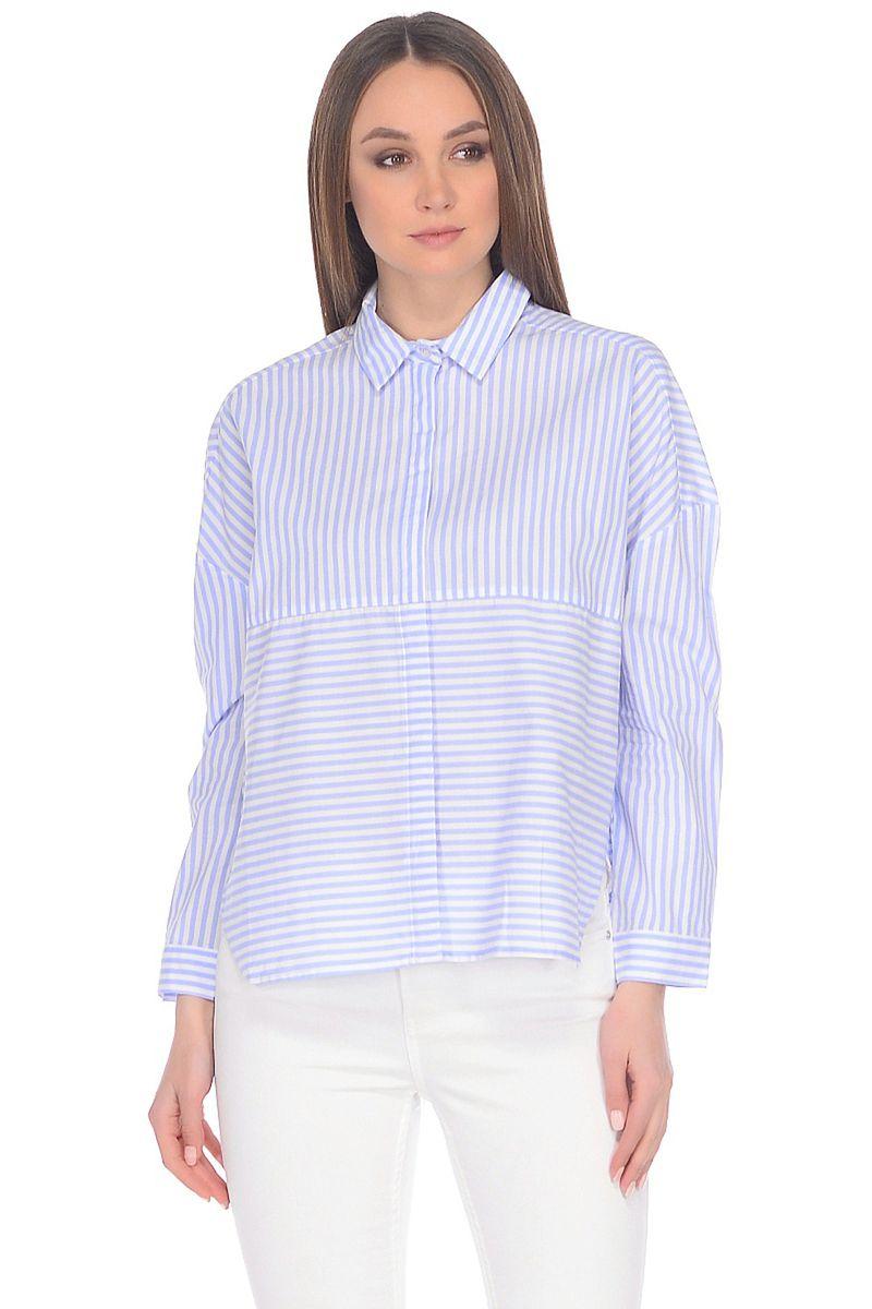 Блузка женская Baon, цвет: голубой. B178012_Angel Blue Striped. Размер M (46)