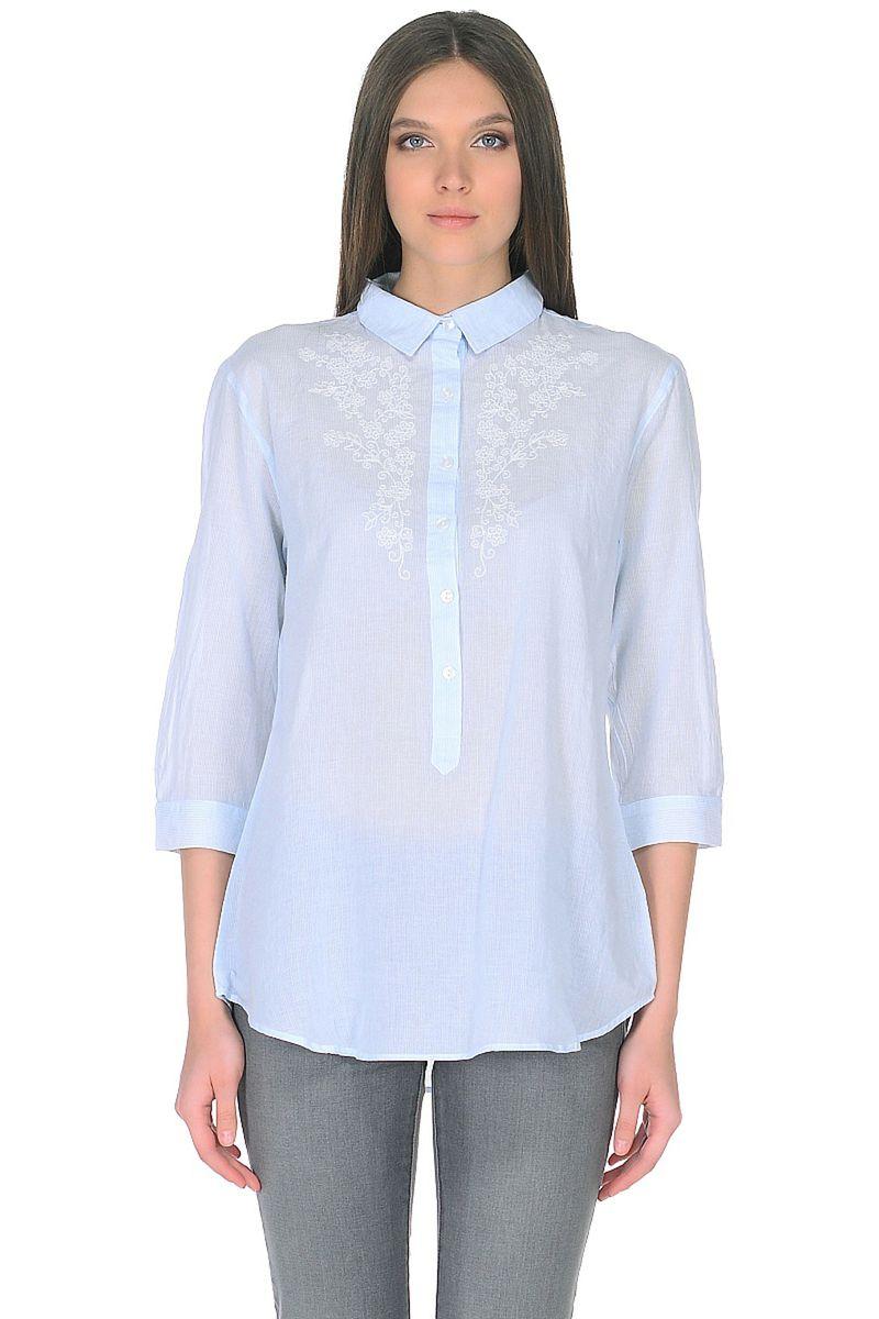 Блузка женская Baon, цвет: голубой. B178041_Angel Blue Striped. Размер XL (50)B178041_Angel Blue StripedНежная блузка от Baon из тонкого хлопка в полоску создаст вам весеннее настроение. Модель имеет прямой крой и застежку на пуговицы. Вдоль линии застежки расположены вышитые цветочные мотивы. Рукава длиной 3/4 подчеркнут красоту и грациозность вашей фигуры.
