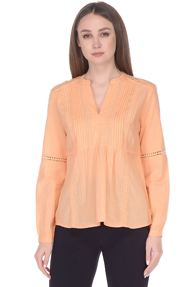 Блузка женская Baon, цвет: оранжевый. B178064_Light Sylvite. Размер M (46)B178064_Light Sylvite