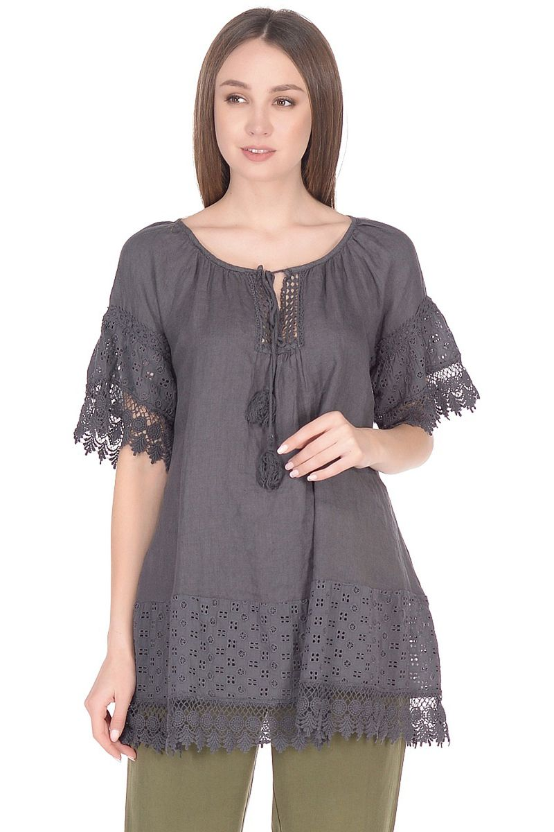 Блузка женская Baon, цвет: серый. B178046_Asphalt. Размер L (48)B178046_Asphalt