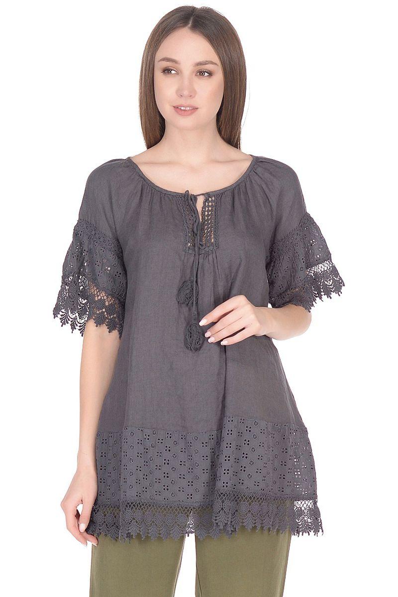 Блузка женская Baon, цвет: серый. B178046_Asphalt. Размер XL (50) кардиган женский baon цвет черный b147505 black размер xl 50