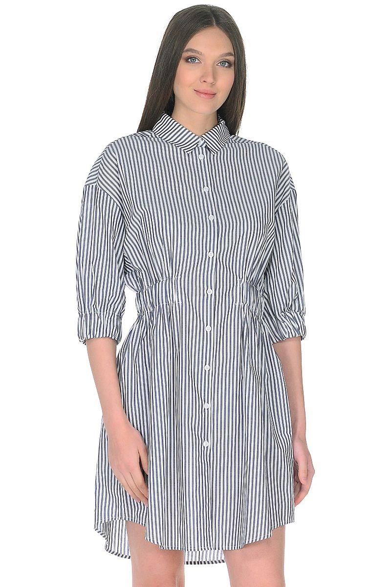 Блузка женская Baon, цвет: синий. B178066_Dark Navy Striped. Размер XXL (52)B178066_Dark Navy Striped