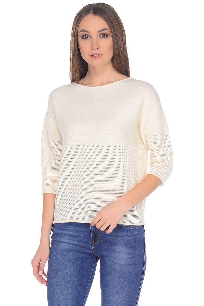 Джемпер женский Baon, цвет: белый. B138005_Milk. Размер XL (50) кардиган женский baon цвет черный b147505 black размер xl 50