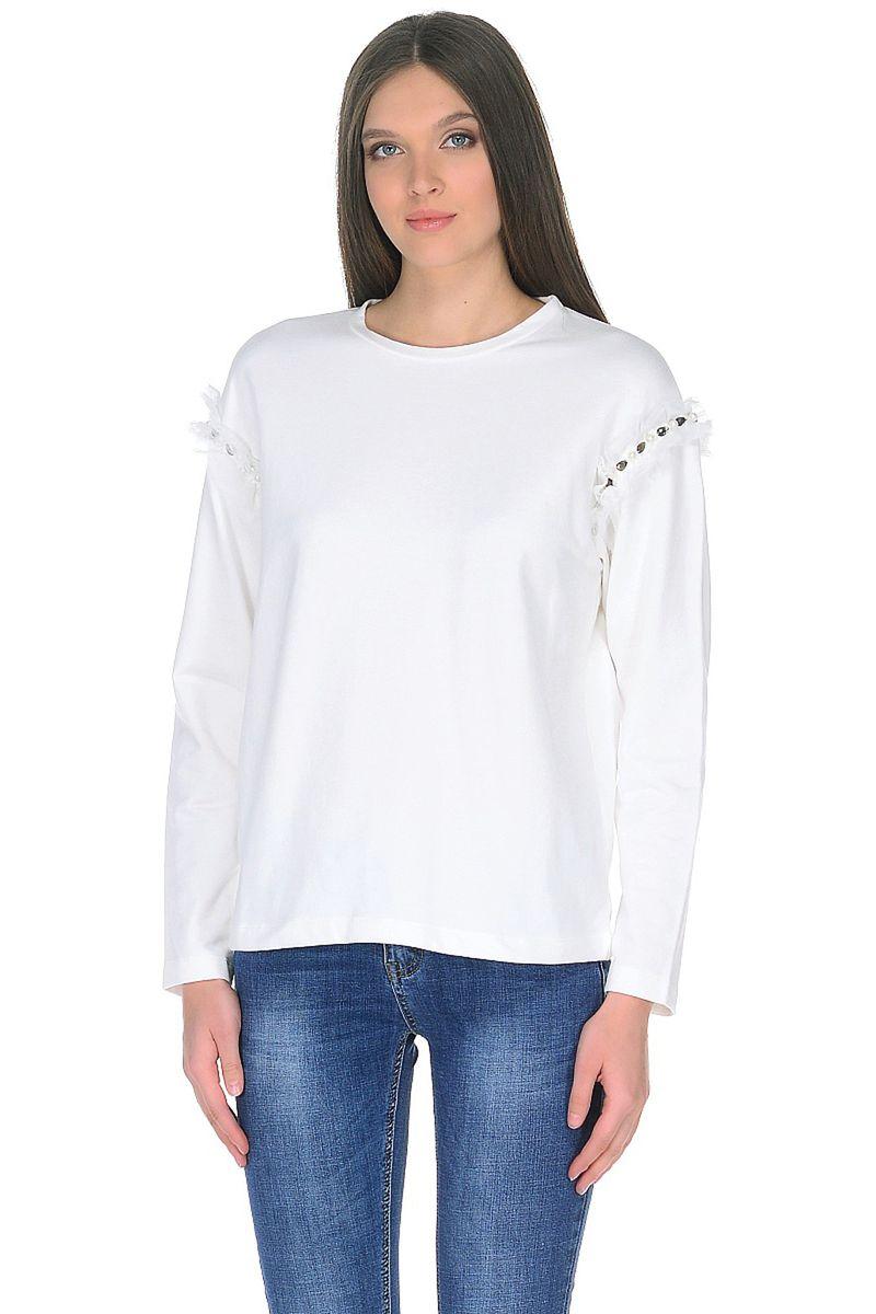 Джемпер женский Baon, цвет: белый. B118001_Milk. Размер L (48) джемпер женский baon цвет бежевый b137564 muscovite melange размер l 48