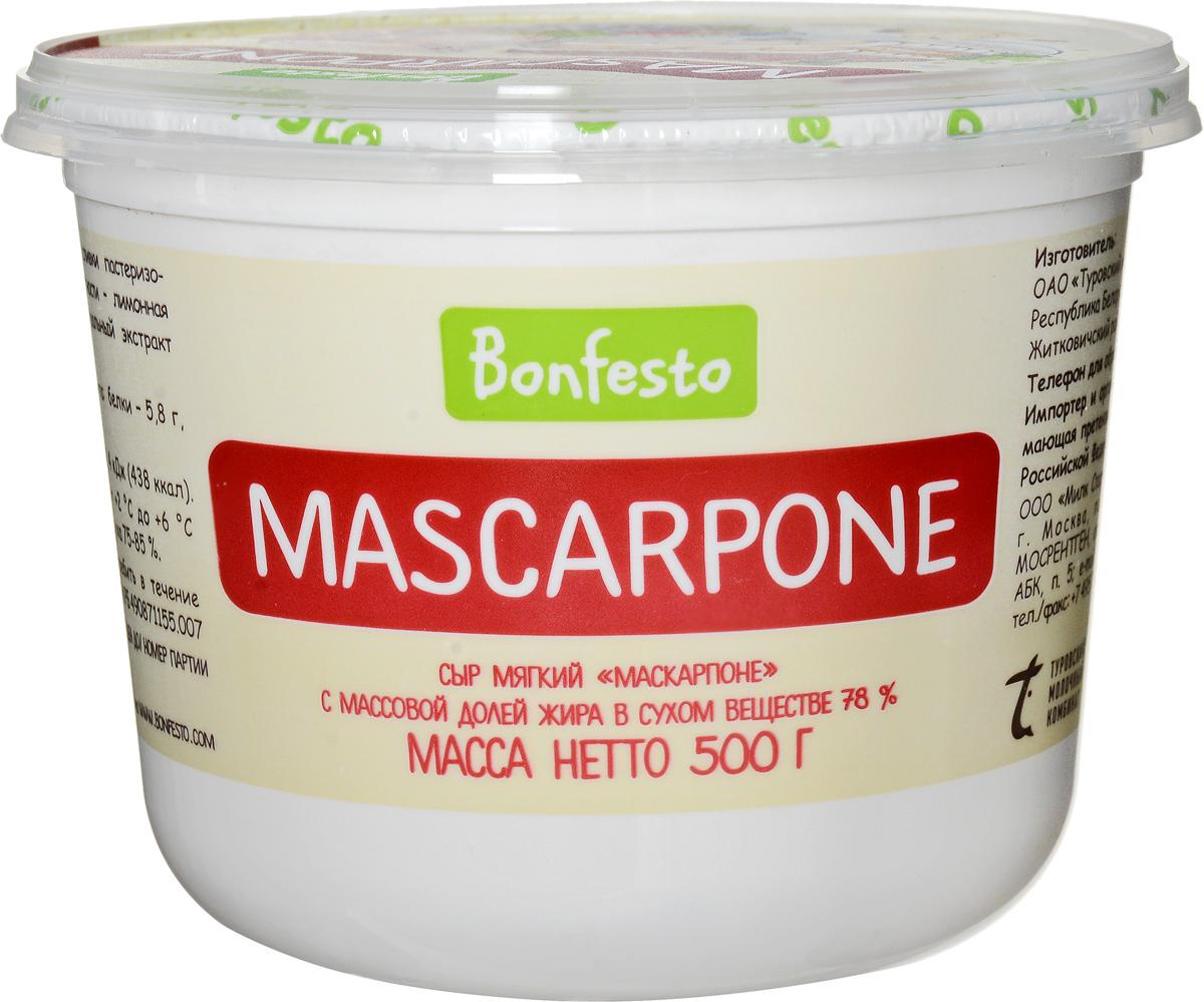 Bonfesto Сыр мягкий Маскарпоне 78%, 500 г galbani сыр маскарпоне 80% 250 г