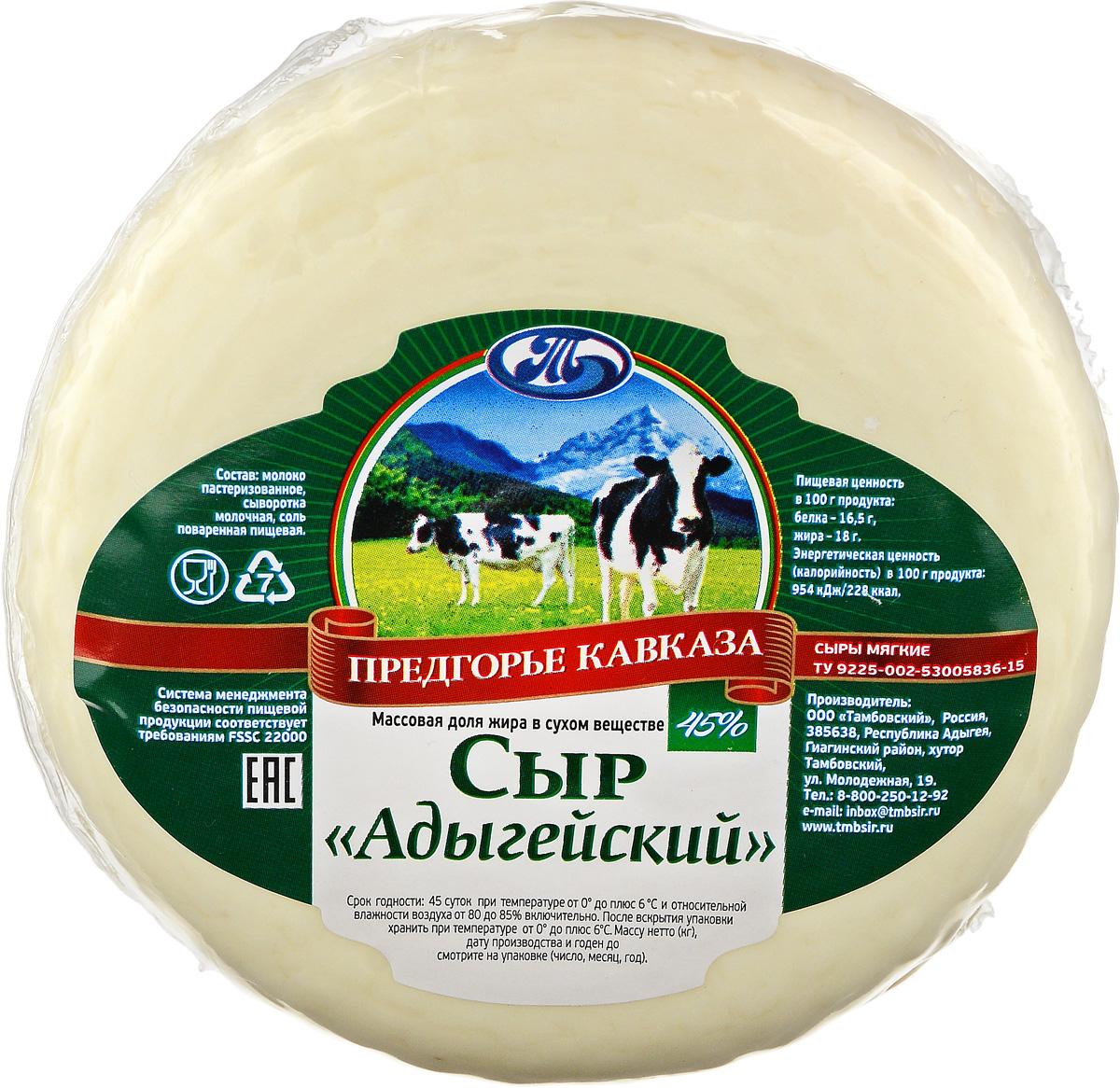 Предгорье Кавказа Сыр Адыгейский, 45%, 300 г село зеленое сыр гауда премиум 40% 250 г