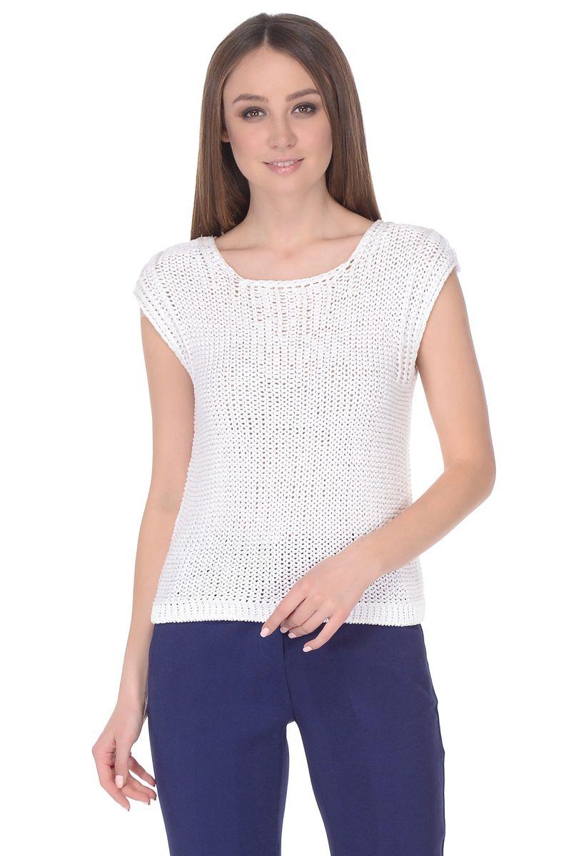 Джемпер женский Baon, цвет: белый. B138044_Milk. Размер L (48) кардиган женский baon цвет светло коричневый черный белый b146512 размер l 48