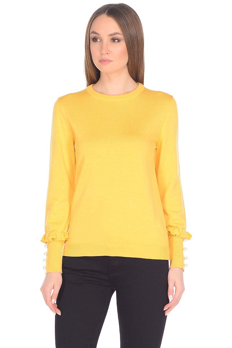 Джемпер женский Baon, цвет: желтый. B138007_Amber. Размер M (46)B138007_AmberИзящный джемпер от Baon в викторианском стиле станет украшением вашего весеннего гардероба. Модель выполнена из мягкого и комфортного в ношении трикотажа. Изюминка изделия - высокие манжеты, декорированные рюшами и жемчужными бусинами.