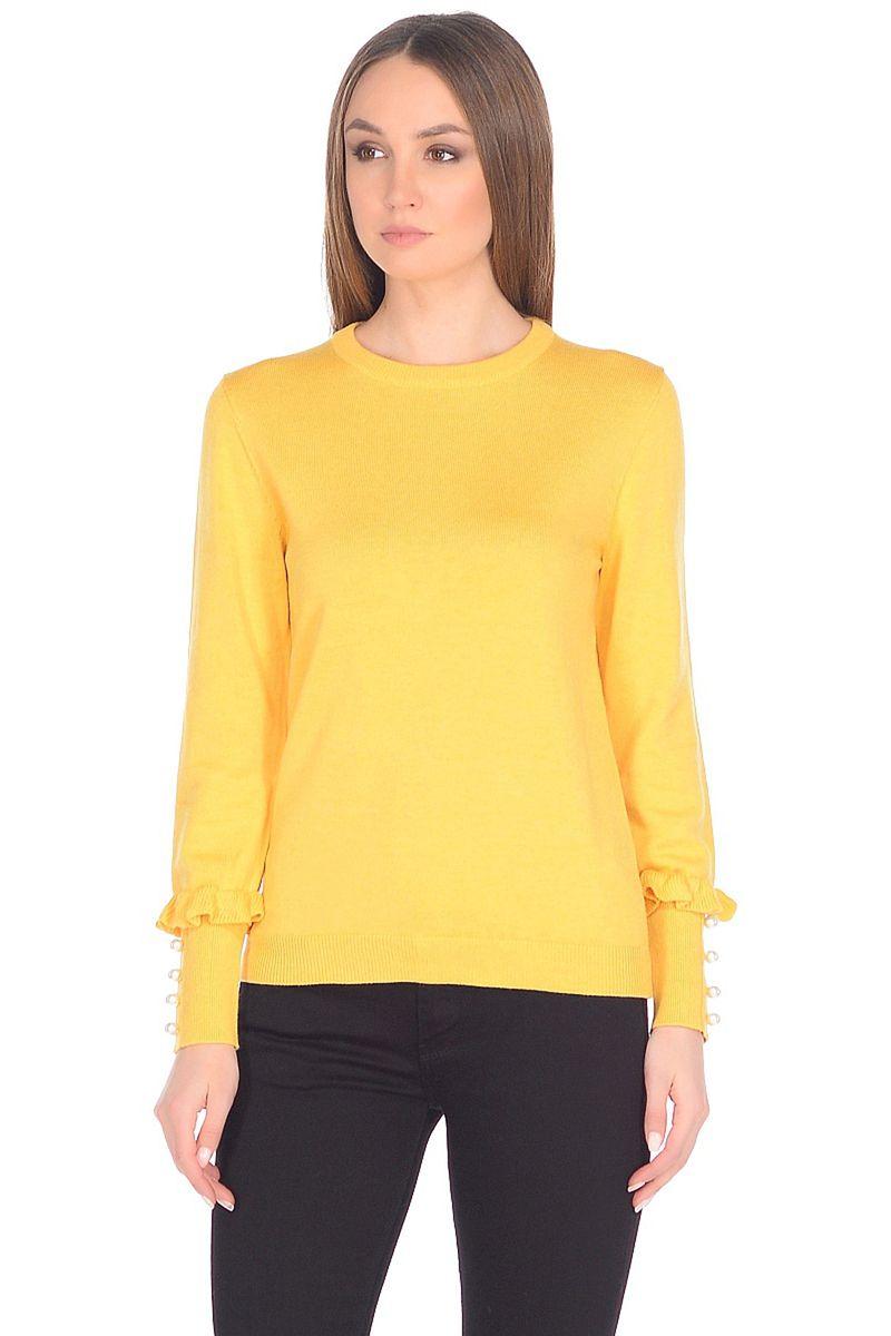 Джемпер женский Baon, цвет: желтый. B138007_Amber. Размер M (46)B138007_Amber