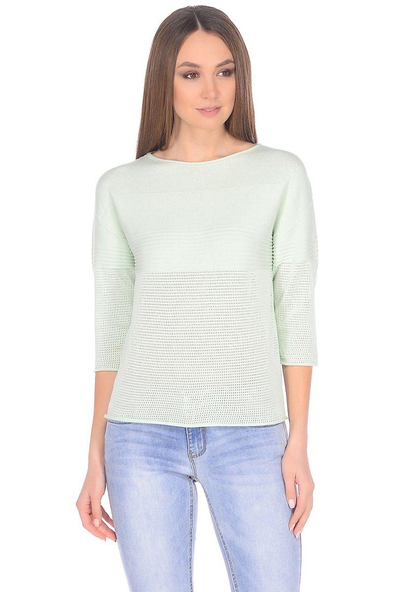 Джемпер женский Baon, цвет: зеленый. B138005_Fungus. Размер L (48)B138005_FungusЛаконичный крой с прямыми линиями и графичный дизайн - отличный выбор для повседневного гардероба. В таком джемпере от Baon вы будете чувствовать себя максимально комфортно, а образ, составленный с его помощью, получится аккуратным и стильным. Джемпер имеет заниженные линии пройм и рукава длиной 3/4. Элементы переда, спинки и рукавов частично декорированы ажурным сетчатым узором.