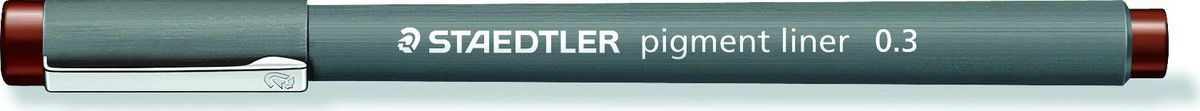 Staedtler Ручка капиллярная Pigment Liner 308 0,3 мм цвет чернил коричневый30803-76Капиллярная ручка серии pigment liner 308. Цвет коричневый. Толщина линии - 0,3 мм. Капиллярные ручки 308 серии идеальны для письма, рисования, набросков и черчения. Идеальны для Хобби и творчества. Удлиненный металлический узел идеален для работы с линейками и шаблонами. Пигментные чернила, несмываемые, свето- и водоустойчивые. Стирается с кальки, не размазывается при выделении текстовыделителем. Можно оставить без колпачка на 18 часов и не опасаться высыхания. Корпус из пропилена гарантирует долгий срок службы.