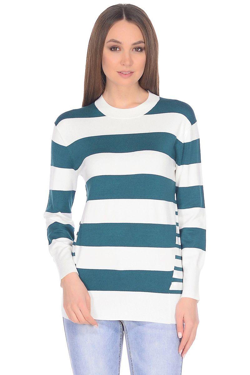 Джемпер женский Baon, цвет: зеленый, белый. B138019_Dark Sage Striped. Размер XXL (52)B138019_Dark Sage StripedОригинальное решение для тех, кому наскучила привычная полоска: в этом джемпере от Baon сочетаются сразу две разновидности полос разной ширины. Контрастная расцветка привлекает внимание и создает отличное настроение. Джемпер имеет прямой крой и слегка удлиненный силуэт.