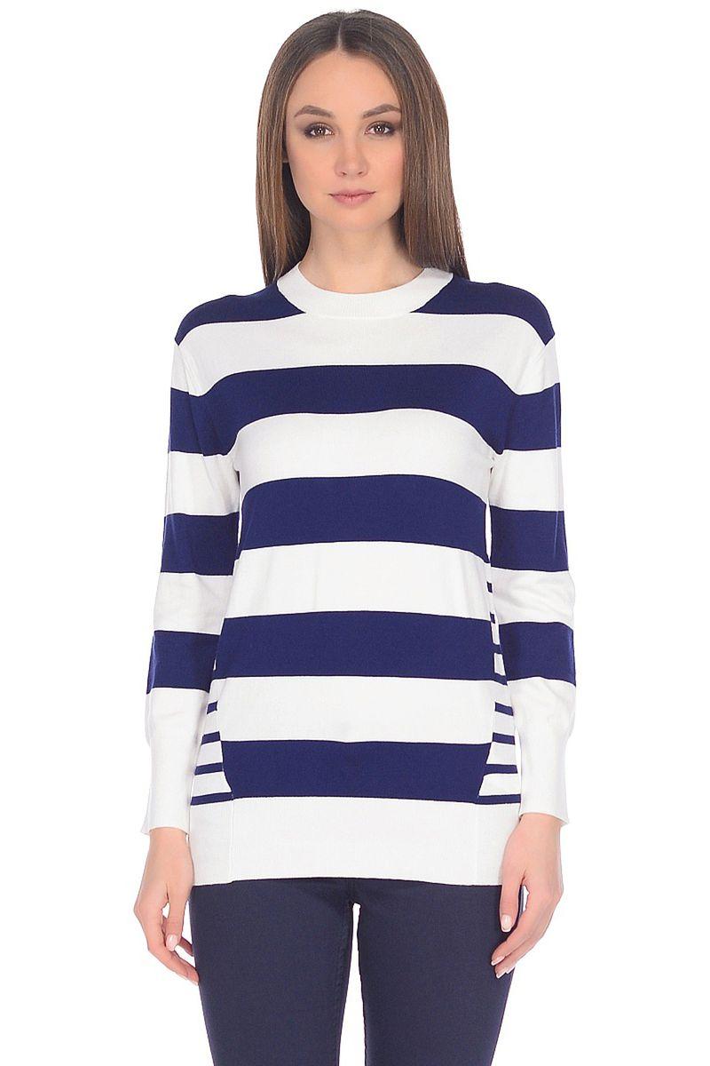 Джемпер женский Baon, цвет: синий, белый. B138019_Dark Navy-White Striped. Размер XXL (52) пуховик женский baon цвет синий b007569