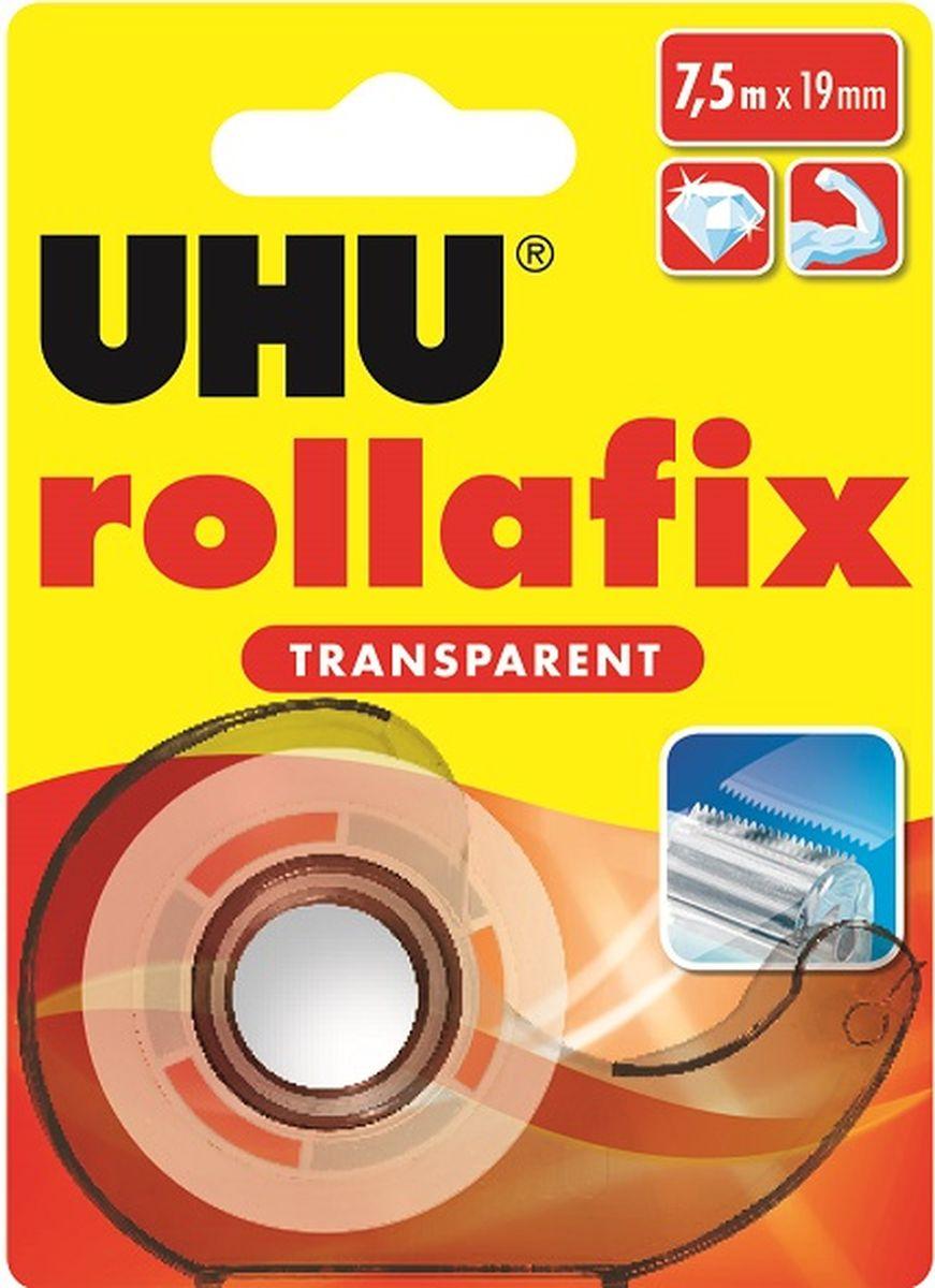 UHU Клеящая лента Rollafix цвет прозрачный 19 мм х 7,5 м36955Прозрачная канцелярская клеевая лента UHU Rollafix.Размер ленты: 19 мм х 7,5 м. Канцелярские клеевые ленты высокого качества, современные, легкие, дозаторы с металлическим ножом. Кристально прозрачные. При использовании, в частности при разматывании ленты, бесшумны. Без растворителей, с высокой силой сцепления и прочностью растяжения. Легко разрываются рукой, давая дополнительное преимущество при использовании.