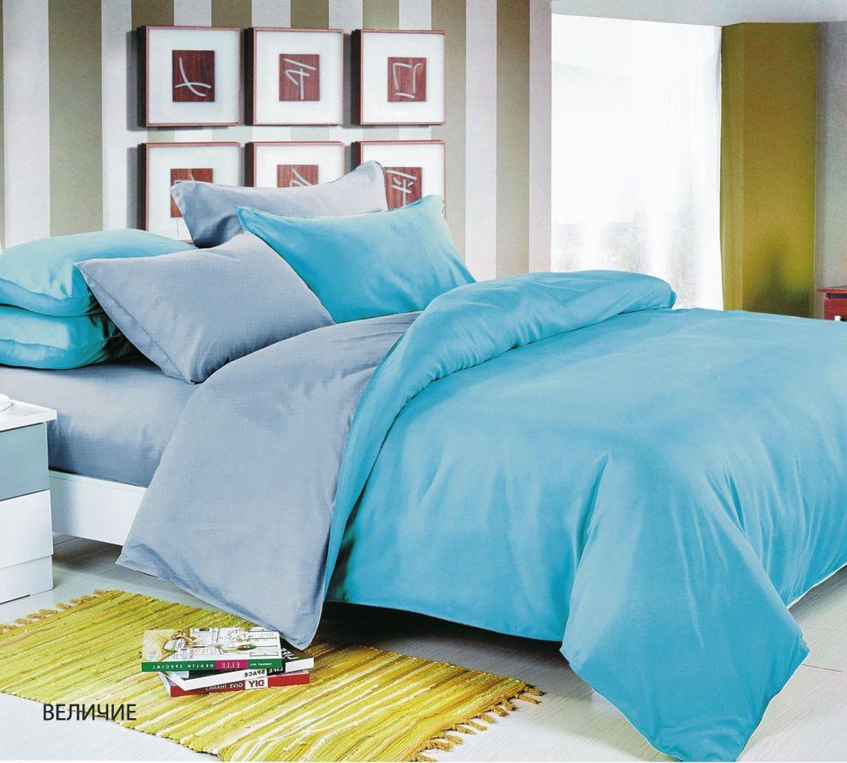 Комплект белья Павлина Величие, 1,5 спальный, наволочки 70x70, цвет: голубой комплект белья seta torme 1 5 спальный наволочки 70x70 цвет голубой