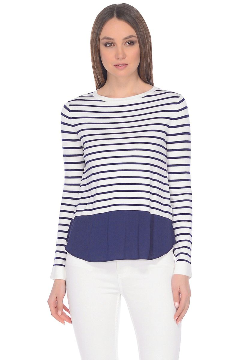 Джемпер женский Baon, цвет: синий. B138020_Dark Navy Striped. Размер XL (50)B138020_Dark Navy Striped