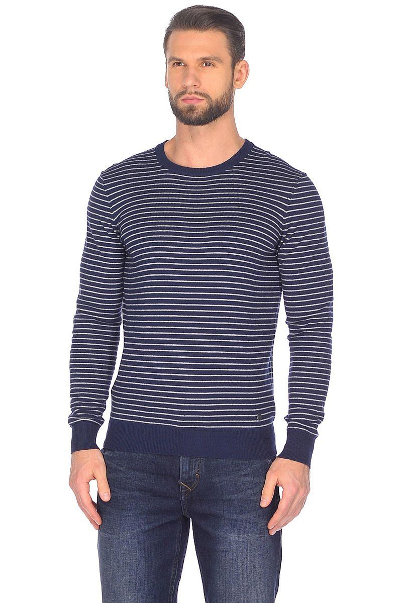 Джемпер мужской Baon, цвет: синий. B638010_Deep Navy Striped. Размер M (48)B638010_Deep Navy Striped
