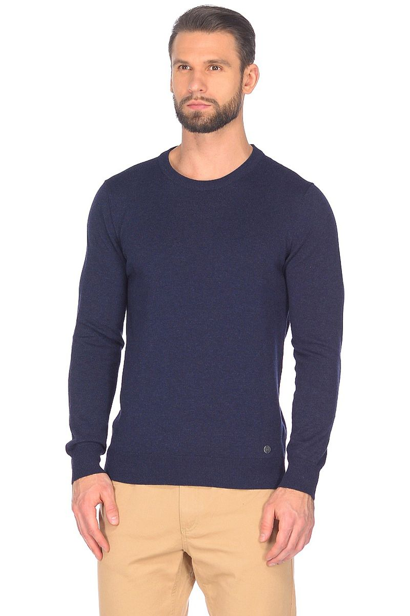 Джемпер мужской Baon, цвет: синий. B638201_Deep Navy. Размер L (50)B638201_Deep Navy