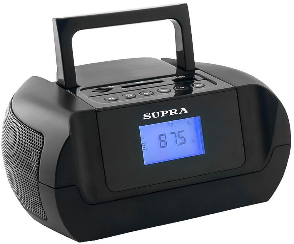 Supra BB-105UB магнитолаBB-105UBSupra BB-105UB - компактная и стильная магнитола, предназначенная для прослушивания музыки с флеш-карт, карт памяти формата SD/microSD объемом до 32 Гб и мобильных устройств. Она оборудована удобно расположенными входами USB и AUX, а также картридером.Модель оснащена цифровым радиоприемником, который работает в популярном диапазоне частот FM, а также удобной ручкой для переноски. Текущий режим работы отображается на информативном ЖК-дисплее, который имеет подсветку для удобства использования.Также имеются функции календаря и будильника. Устройство получает питание от встроенного Li-Ion аккумулятора, в котором достаточно энергии для длительной работы без подзарядки.