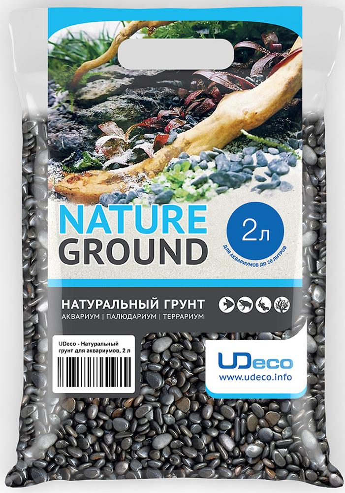 Грунт для аквариума UDeco Темный гравий, натуральный, 6-9 мм, 2 л грунт для аквариума udeco коралловая крошка натуральный 11 30 мм 2 л