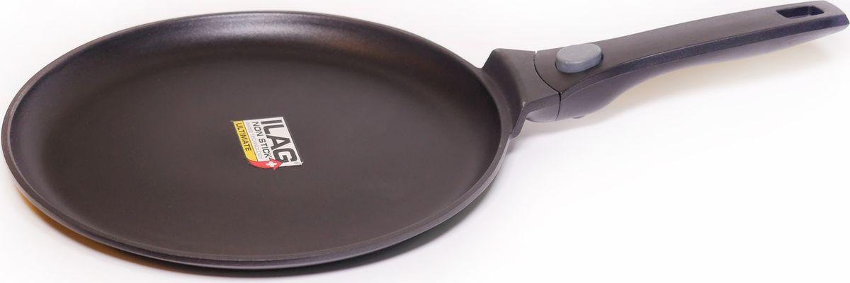 Сковорода SKK Series 6, с антипригарным покрытием, со съемной ручкой, цвет: черный. Диаметр 28 см