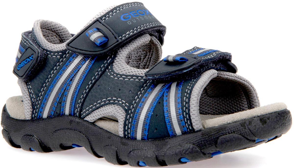 Сандалии для мальчика Geox, цвет: темно-синий, индиго, синий. J4224A0CE14CF44R. Размер 30J4224A0CE14CF44RЧрезвычайно удобные многофункциональные босоножки. Запатентованная перфорированная подошва обеспечивает максимальную воздухопроницаемость и комфорт. Замшевая стелька обеспечивает комфорт и постоянное ощущение сухости ног. Подкладка из микросетки повышает воздухопроницаемость. Резиновая подошва сочетает в себе хорошее сцепление, прочность и гибкость. Застежка на тройной ремешок с липучкой позволяет в полной мере регулировать плотность посадки.