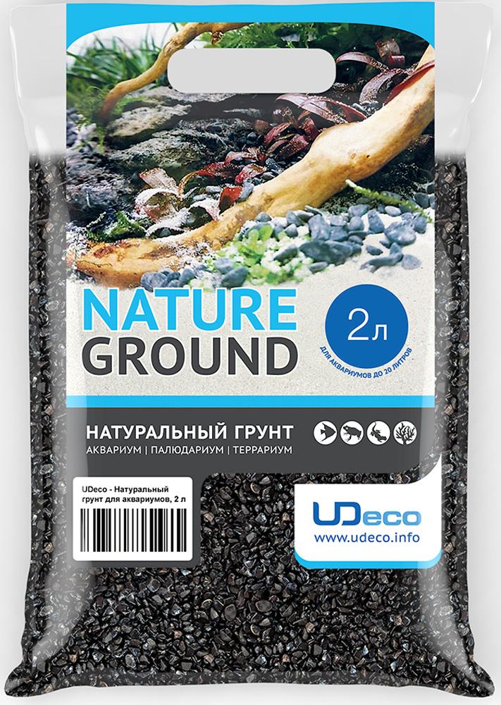 Грунт для аквариума UDeco Черный гравий, натуральный, 4-6 мм, 2 л грунт для аквариума udeco темный гравий натуральный 6 9 мм 6 л