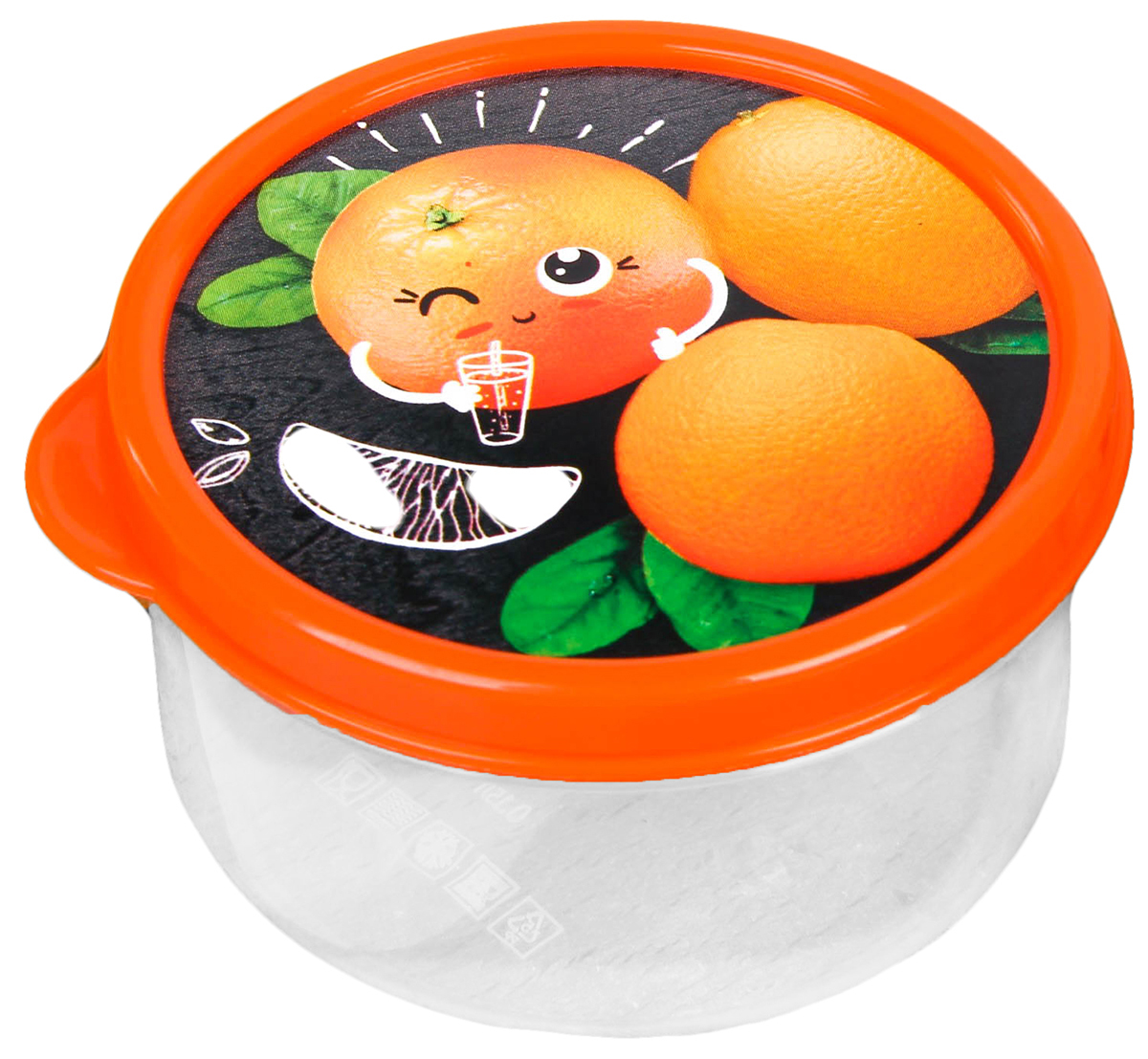 Ланч-бокс Апельсин, 0,15 л2789817Изделие произведено в России из качественного пищевого пластика, снабжено плотно закрывающейся крышкой, а это значит, что вы сможете брать на работу, в дорогу или на пикник разнообразную, а самое главное - вкусную и полезную пищу! Оригинальный рисунок на крышке поднимет настроение хозяину и окружающим.Контейнер прост и удобен в обращении: его можно хранить в холодильнике, разогревать в микроволновой печи, мыть в посудомоечной машине.