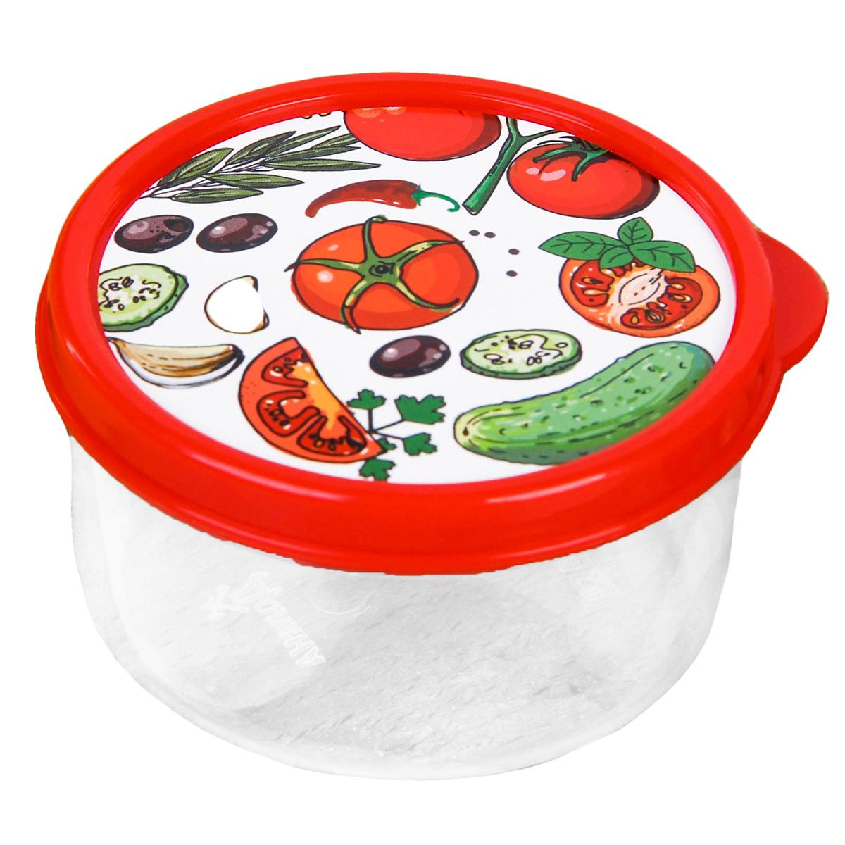 """Ланч-бокс """"Овощной микс"""" изготовлен из качественного пищевого пластика. Снабжен плотно закрывающейся крышкой, а это значит, что вы сможете брать на работу, в дорогу или на пикник разнообразную, а самое главное - вкусную и полезную пищу! Оригинальный рисунок на крышке поднимет настроение хозяину и окружающим.  Контейнер прост и удобен в обращении: его можно хранить в холодильнике, разогревать в микроволновой печи, мыть в посудомоечной машине."""