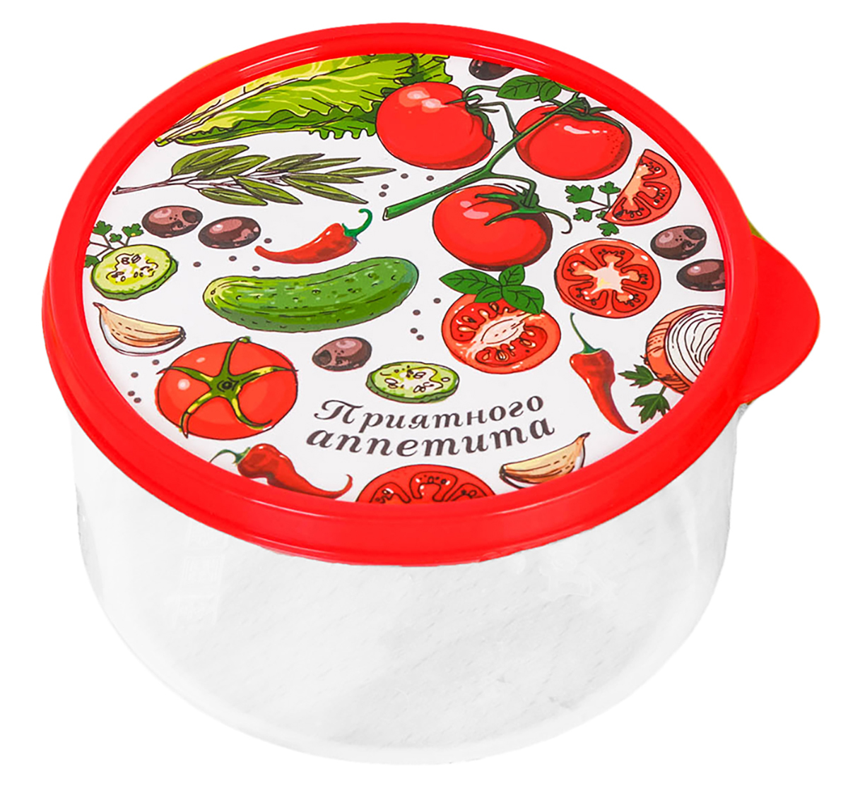 Ланч-бокс Овощной микс, 0,5 л2789836Изделие произведено в России из качественного пищевого пластика, снабжено плотно закрывающейся крышкой, а это значит, что вы сможете брать на работу, в дорогу или на пикник разнообразную, а самое главное - вкусную и полезную пищу! Оригинальный рисунок на крышке поднимет настроение хозяину и окружающим.Контейнер прост и удобен в обращении: его можно хранить в холодильнике, разогревать в микроволновой печи, мыть в посудомоечной машине.