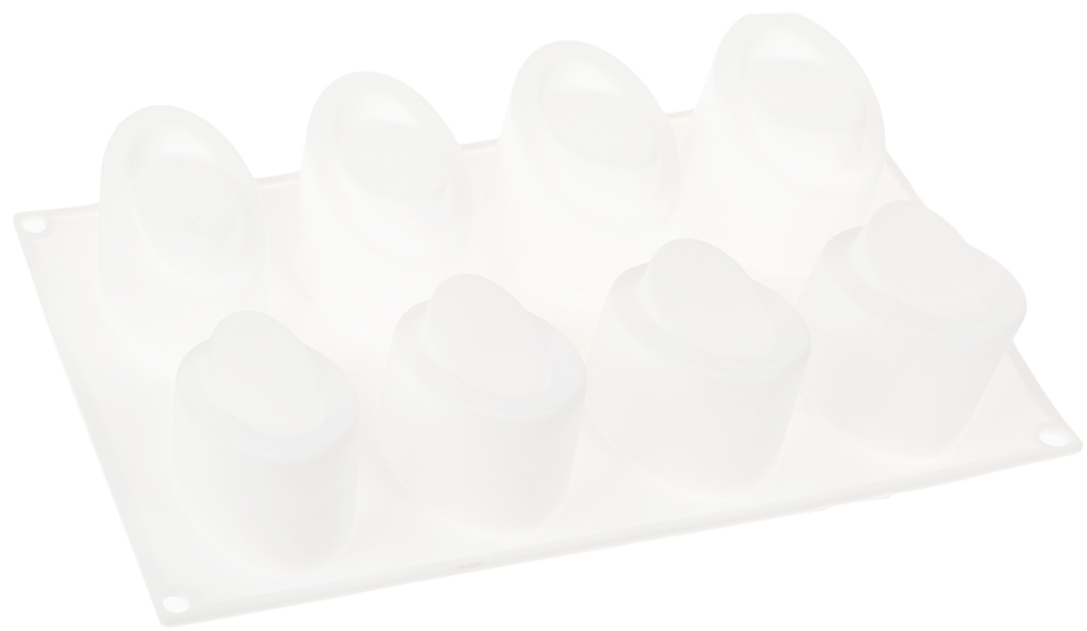 Форма для выпечки Доляна Эллипс, цвет: белый, 30 х 17,5 х 4,5 см, 8 ячеек