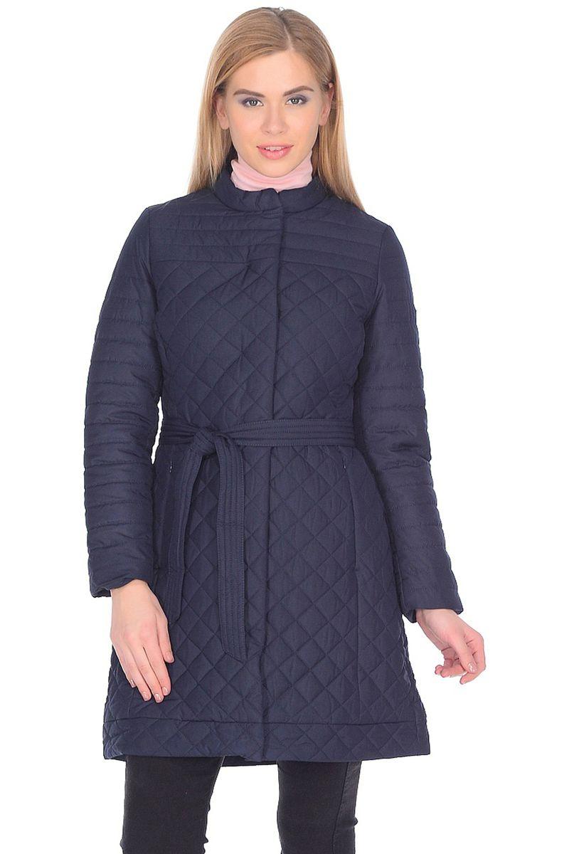 Куртка женская Baon, цвет: синий. B038036_Dark Navy. Размер XL (50)B038036_Dark NavyСтильная куртка от Baon с мелкой простежкой - идеальный вариант для вашего гардероба. Модель будет отлично смотреться как с брюками, так и с платьями и юбками. Приталенный силуэт изделия подчеркнут при помощи завязывающегося пояса. Куртка застегивается на потайные кнопки, по бокам расположены карманы. Внутри имеется потайной карман с молнией.