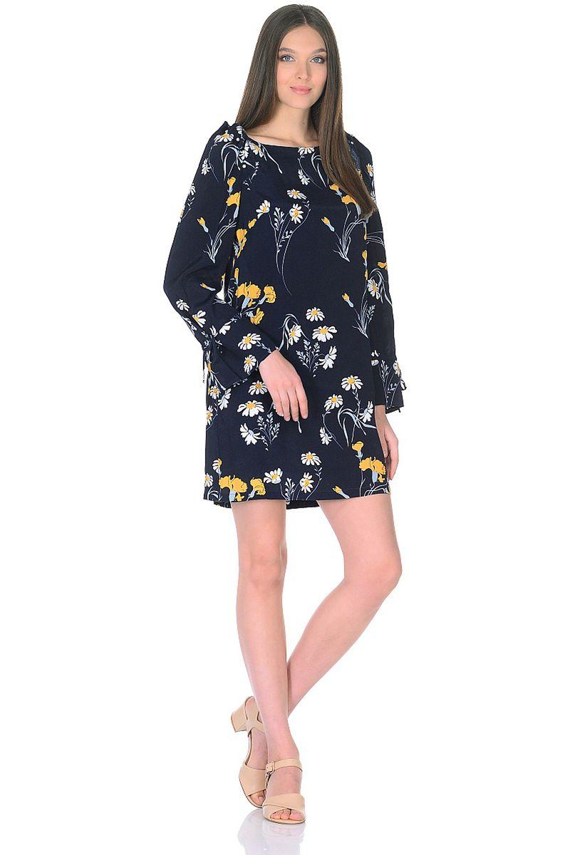 Платье женское Baon, цвет: синий. B458003_Dark Navy Printed. Размер L (48)B458003_Dark Navy Printed