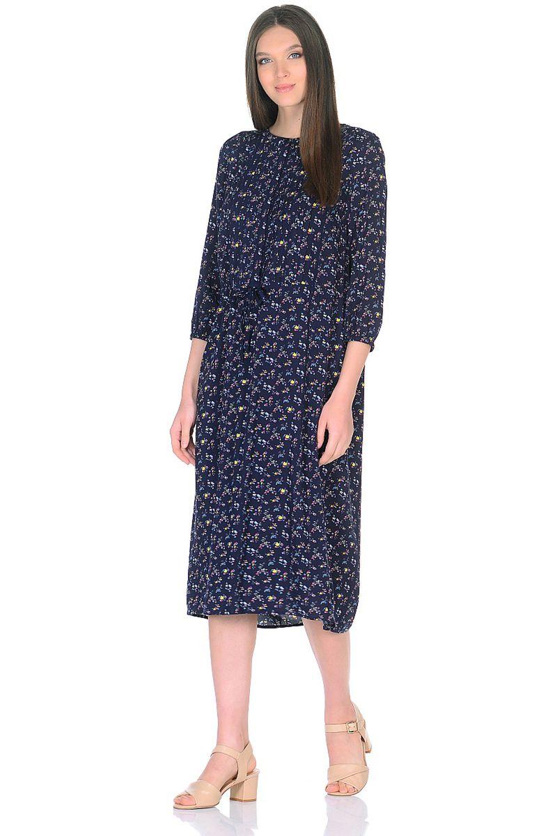 Платье женское Baon, цвет: синий. B458013_Dark Navy Printed. Размер M (46)B458013_Dark Navy Printed