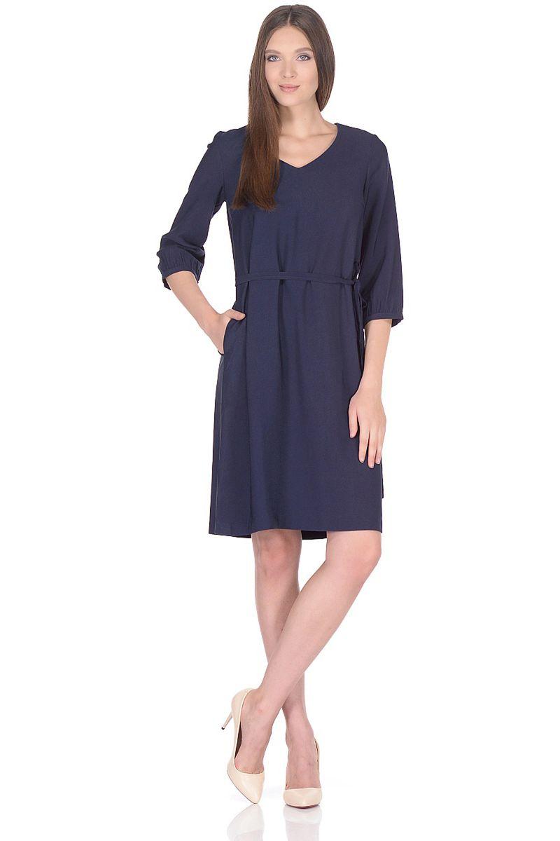 Платье женское Baon, цвет: синий. B458015_Dark Navy. Размер XL (50)B458015_Dark Navy