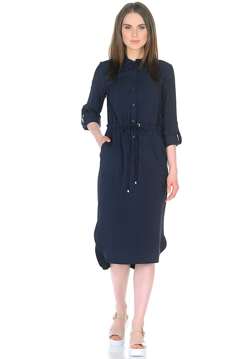 Платье женское Baon, цвет: синий. B458017_Dark Navy. Размер S (44)B458017_Dark Navy