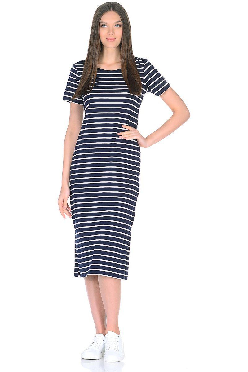 Платье Baon, цвет: синий. B458026_Dark Navy Striped. Размер M (46) платье baon цвет синий b457054 larkspur размер m 46