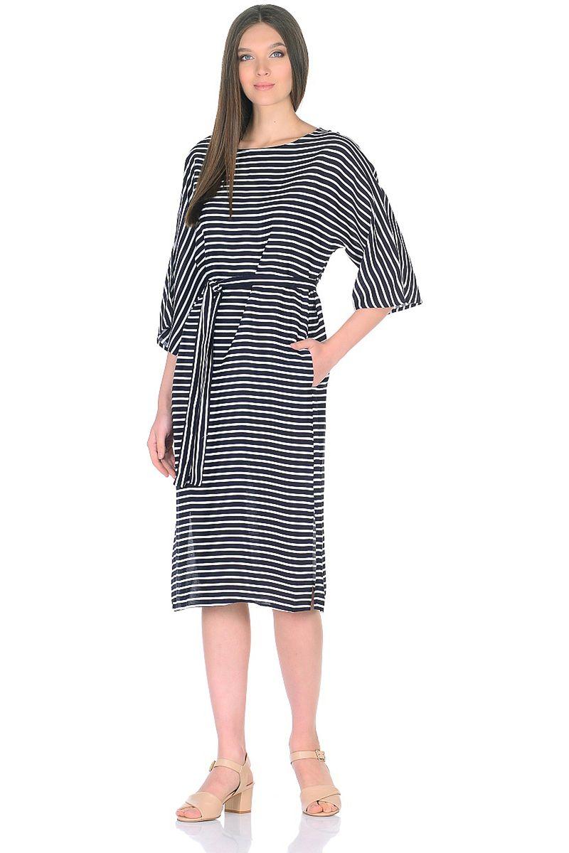 Платье женское Baon, цвет: синий. B458036_Dark Navy Striped. Размер M (46)B458036_Dark Navy Striped
