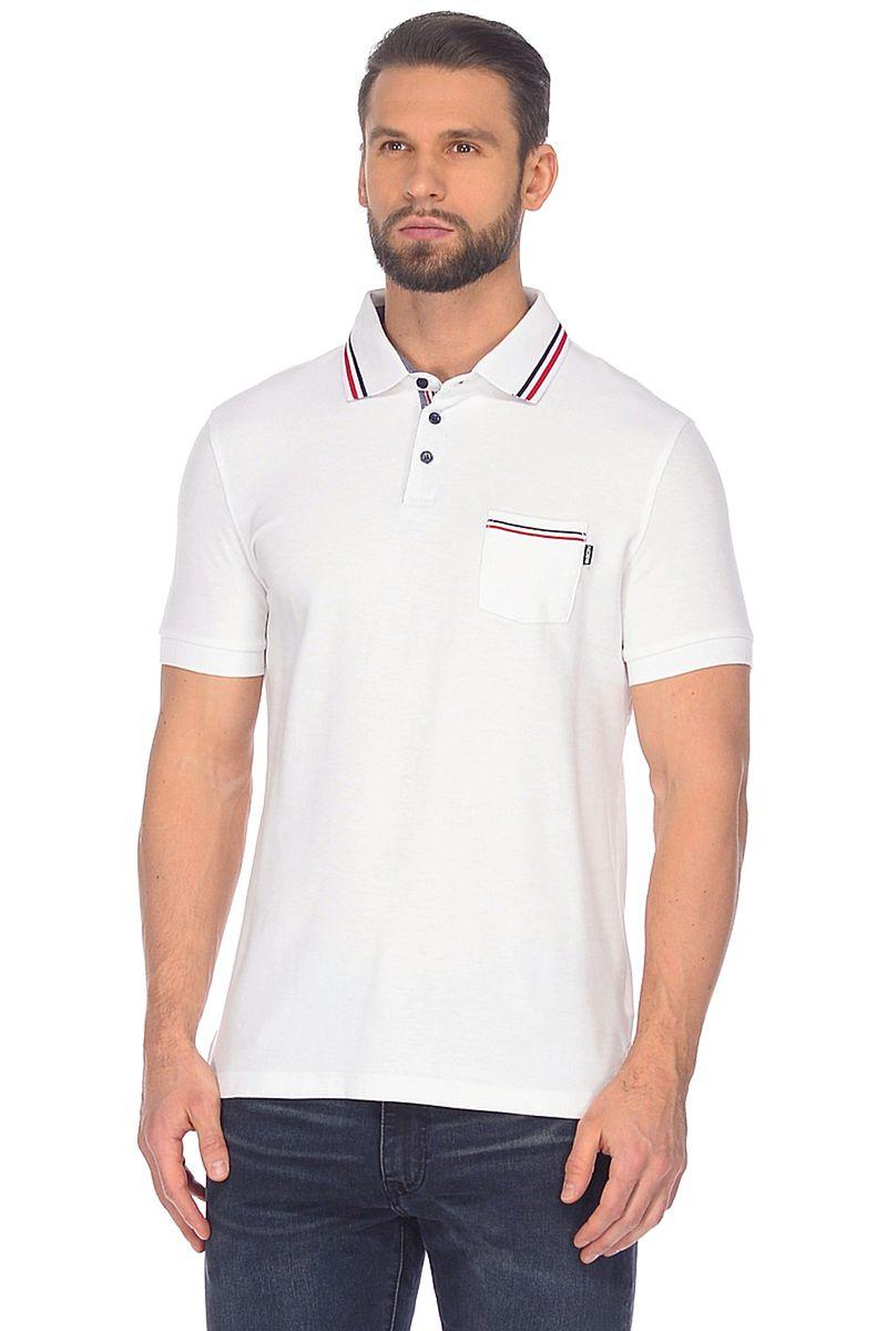 Поло мужское Baon, цвет: белый. B708012_White. Размер S (46)B708012_White