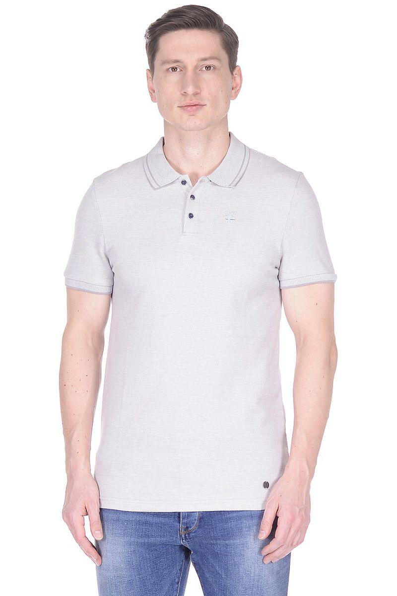 Поло мужское Baon, цвет: серый. B708001_Grey Melange. Размер L (50)B708001_Grey Melange