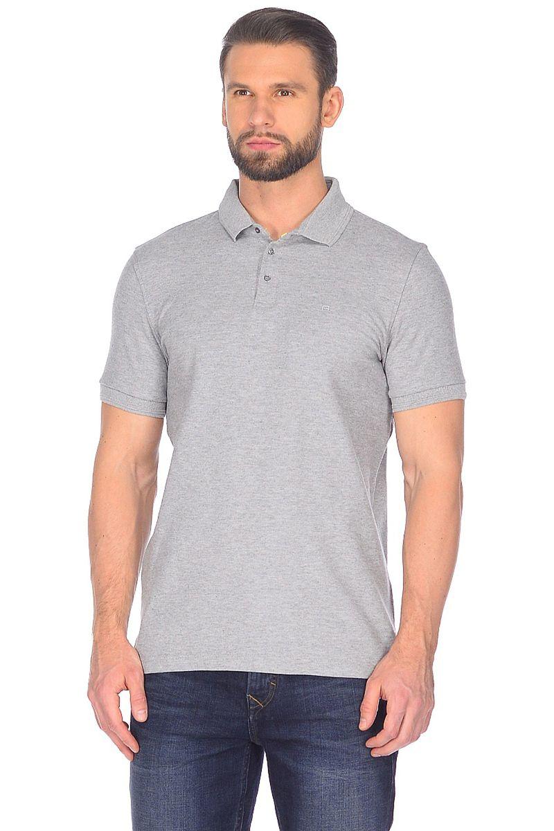 Поло мужское Baon, цвет: серый. B708201_Cold Grey Melange. Размер XL (52)B708201_Cold Grey Melange