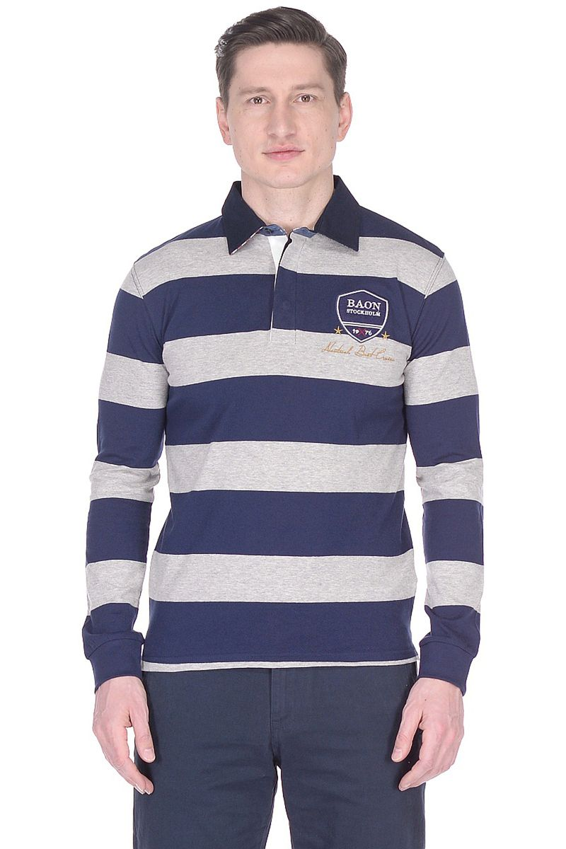 Поло мужское Baon, цвет: синий. B708038_Deep Navy Striped. Размер M (48)B708038_Deep Navy Striped