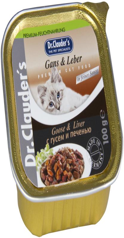 Корм консервированный Dr. Clauders для кошек, с гусем и печенью, 100 г00300200Ингредиенты: Мясо и мясные продукты (мясо гуся мин. 4%, печень мин. 4%), рыба и рыбные продукты, крупы, минералы, сахар. Содержание основных питательных веществ: Протеин 7,5% Жиры 4,5% Клетчатка 0,3% Влажность 82%