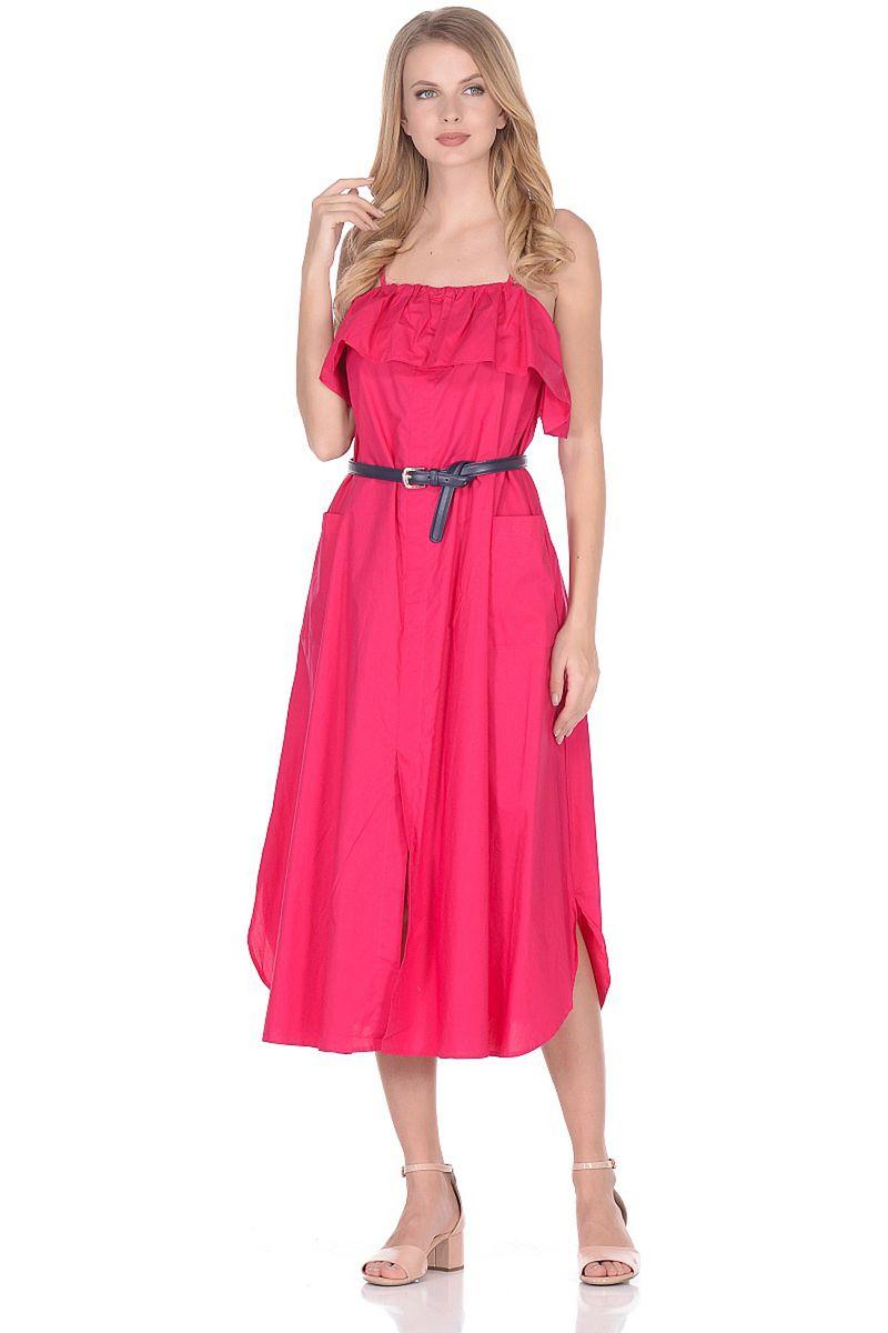 Сарафан Baon, цвет: розовый. B468004_Bright Carmine. Размер L (48) baon хлопковая майка на тонких бретелях арт baon b256203 зеленый