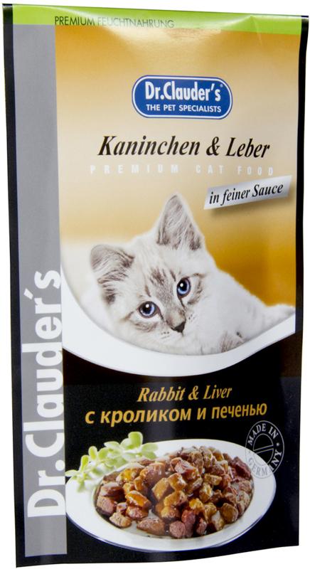 Корм консервированный Dr. Clauder's для кошек, с кроликом и печенью, 100 г корм консервированный для кошек dr clauder s herz in delikater sosse