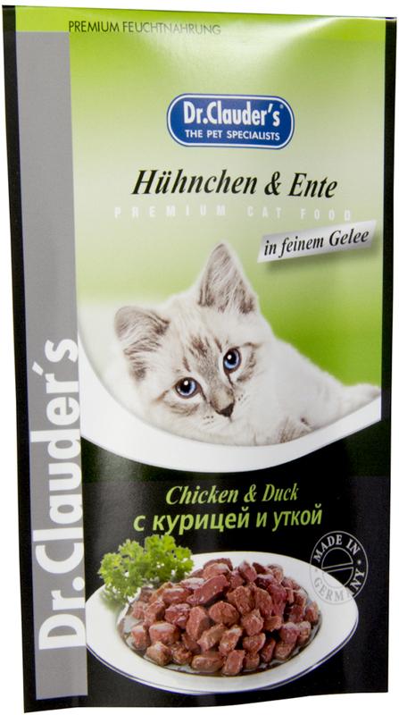 Корм консервированный Dr. Clauders для кошек, с курицей и уткой, 100 г00300410Ингредиенты: Мясо и мясные продукты (мин. 4% мяса курицы, мин. 4% мяса утки), крупы, минералы, сахар. Содержание основных питательных веществ: Протеин 7,50% Жиры 4,50% Клетчатка 0,50% Влажность 81,00%