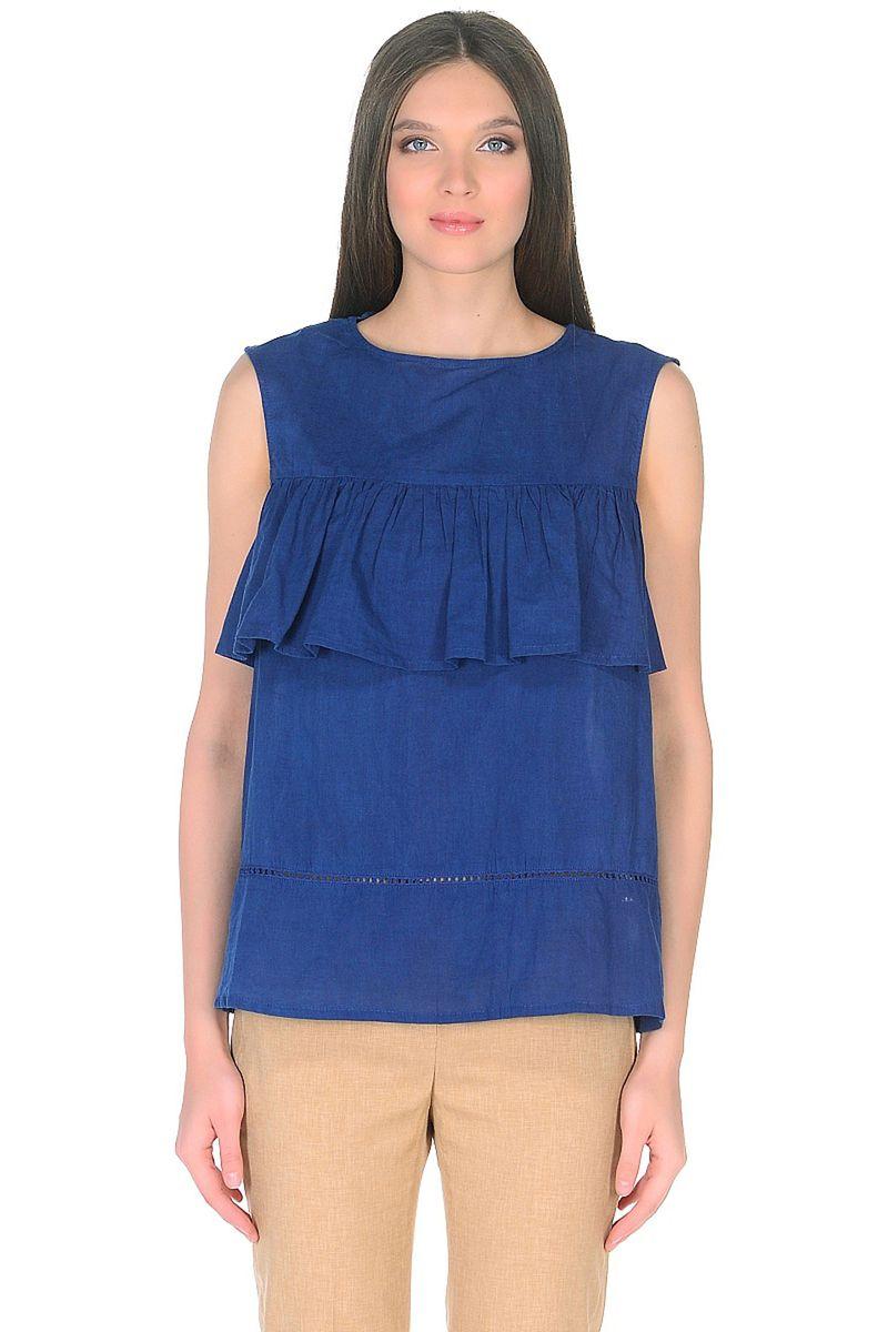 Топ женский Baon, цвет: синий. B268054_Deep Baltic Blue. Размер L (48) пуховик женский baon цвет синий b007569