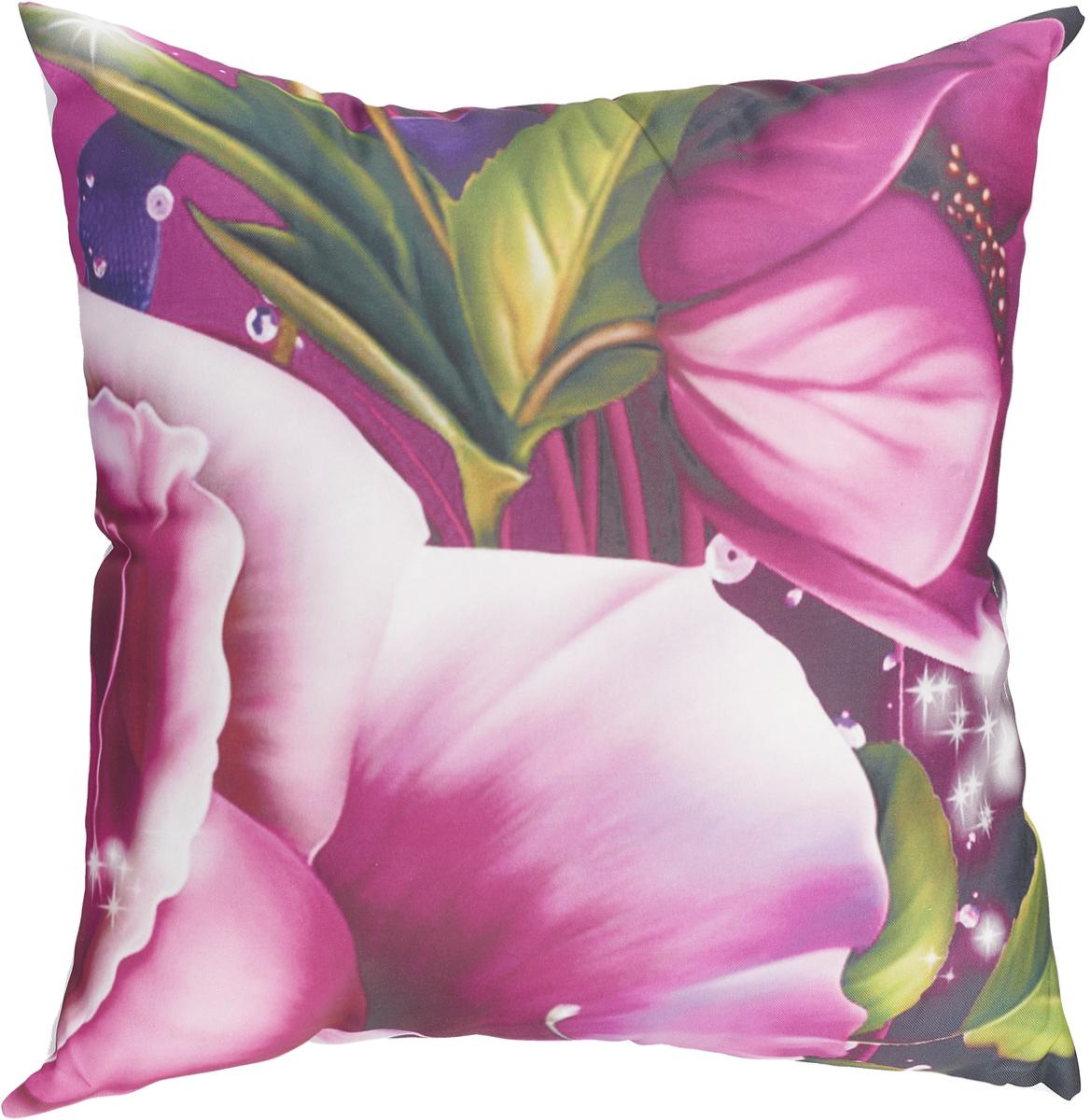 Подушка декоративная МарТекс Рамирос, цвет: черно-розовый, 45 х 45 см. 16-1240-116-1240-1Декоративная подушка, рисунок выполнен методом фотопечати. Наполнение полое силиконизированное волокно Hollow Fiber.