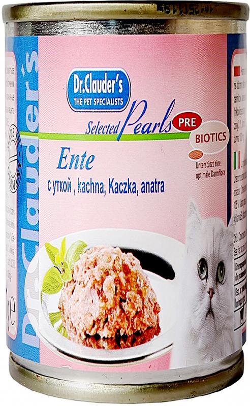 Корм консервированный Dr. Clauder's для кошек, с уткой, 200 г корм консервированный для кошек dr clauder s herz in delikater sosse